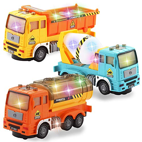 JOYIN 3-in-1 Toy Trucks Construction Vehicles Set with Dump Truck, Mixer Truck and Oil Tank Truck Automatic Bump & Go Trucks with 4D Stunning Lights and Sounds for Kids