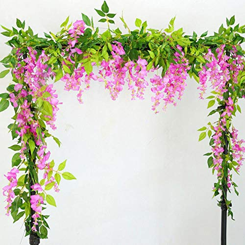 LIMMC 7ft 2m Cadena de Flores Artificial Wisteria Vine Garland Plant Foliage Outdoor Home Trailing Flower Fake Flower Hanging Wall Decor, Rose Pink