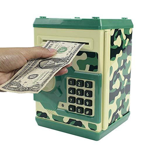 HUSAN Hucha electrónica para niños con código electrónico de cerditos, Mini cajero electrónico para Monedas ATM, Caja de Monedas, Juguete Divertido Regalo (Verde Camuflaje)