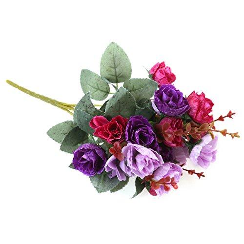 VORCOOL Bouquet de Fleurs artificielles Vintage pour la Saint-Valentin, Le Mariage, la Maison, la fête (Violet)