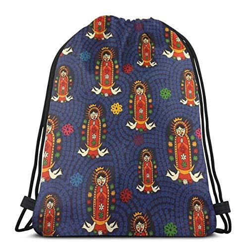 Nuestra Señora de Guadalupe Virgin Mary Drawstring Bag Gym Dance Bag Mochila para Senderismo Bolsas de Viaje en la Playa 36 x 43 cm / 14.2 x 16.9 Pulgadas