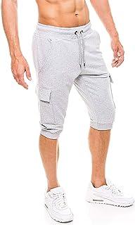 FASKUNOIE Men`s 3/4 Capri Pants Elastic Breathable Workout Gym Jogger with Four Pockets