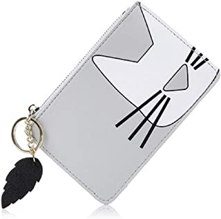 Wallet Short Coin Purse Girl Coin Purse Woman PU Leather Gray (Color : Gray)