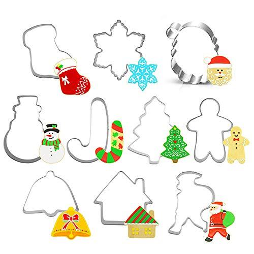 MNOMNN Ensemble de 10 emporte-pièces de Noël, Coupe-Biscuit en Acier Inoxydable de différentes Formes, décoration de gâteau Fondant Bricolage pour la Cuisson de Biscuits à gâteau Fondant