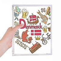 デンマークの愛の心の風景の国旗 硬質プラスチックルーズリーフノートノート