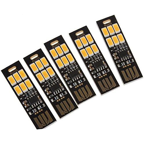 JVSISM 5 Stück 6-LED Nachtlicht Soshine USB Power 1W 5V Berühren Dimmer Warmwei?es Licht Neu