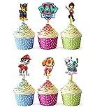 24 Piezas Cachorro de dibujos animados Topper de Tarta, Decoración Torta para niños, Decoraciones De Pastel De Cumpleaños para niños, fiestas de cumpleaños para bebés