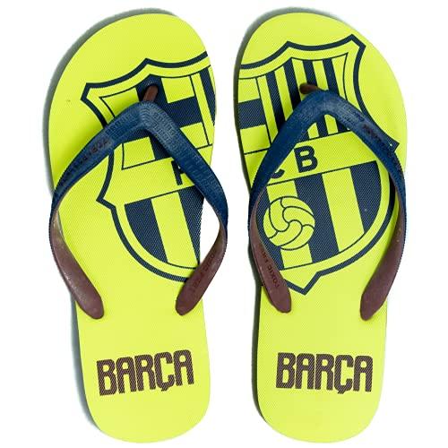FCBarcelona Chanclas Hombre Verano Playa Piscina - Sandalias Goma Planas Caminar Zapatos colección Futbol Club Barcelona - Barça zapatillas edición limitada (Amarillas, Numeric_41)