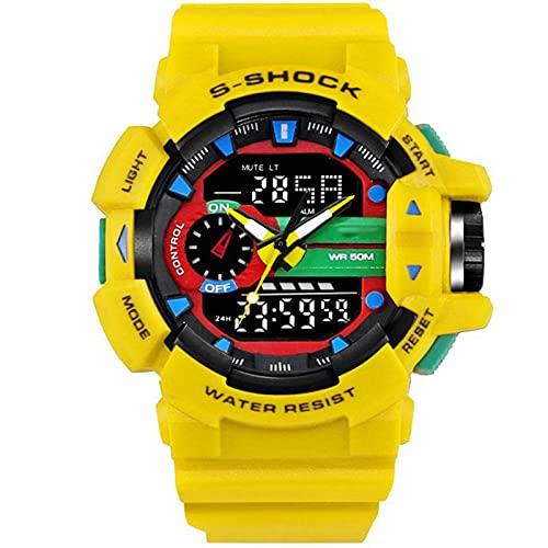 Moda Multifuncional Estudiante Deportes Reloj Impermeable Gran Dial Trend Men's Electronic Watch, Reloj de Deportes de Doble Pantalla Luminosa Yellow