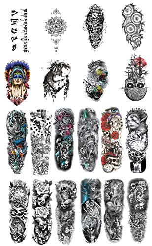 DaLin Extra Large Temporary Tattoos Full Arm and Half Arm Tattoo Sleeves for Men Women 20 Sheets, Tiger, Wolf, Lion, Skull Collection (Collection 2)
