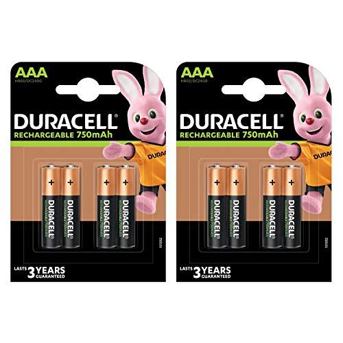 8x Duracell AAA 750mAh Ni-MH Akku Rechargeable wiederaufladbare Akkus Batterie NEU BulkWare