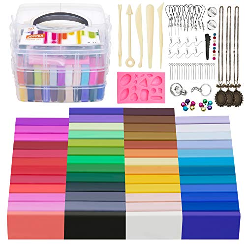 JOYPEA Polymer Clay Starter Kit,50 Colors Oven Bake Clay with 5 Modeling Tools and 68 Accessories, Safe and Nontoxic DIY Baking Clay Blocks Great Gift for Kids