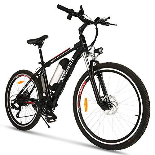 ANCHEER Electric Bike, 250W 26'' Electric Bicycle E-bike with Removable 36V 8Ah /12.5Ah Lithium-Ion Battery for Adults, 21 Speed Shifter (Classic_Black)