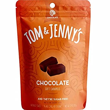 Tom & Jenny s Sugar Free Soft Caramel Candy with Chocolate and Sea Salt - Low Net Carb Keto Chocolate Candy - with Xylitol and Maltitol -  Chocolate Caramel 1-pack