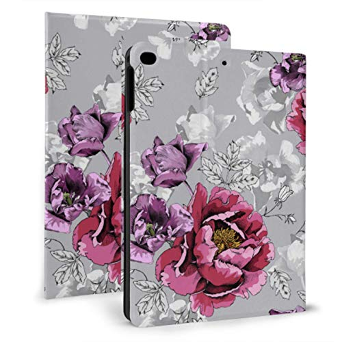 XiexHOME Protect Case iPad Silver Roses White iPad iPad Case para iPad Mini 4 / Mini 5/2018 6th / 2017 5th / Air/Air 2 con Auto Wake/Sleep Magnetic Cute iPad Cover