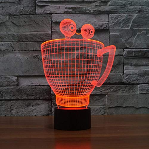 SFALHX Kreative 3d Illusion Lampe Tasse Form Led Nachtlicht Tischlampe 7 Farbwechsel 3d Nachtlicht Acryl Kinder Lampe