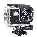 Caméra Action, 2,0 Pouces TFT LCD Full HD 1080P Caméra de Sport Étanche 30m Support 32G Carte TF, Grand Angle 140 ° avec Batteries Rechargeables 900 mAh et Kits d'Accessoires de Montage.(Noir)