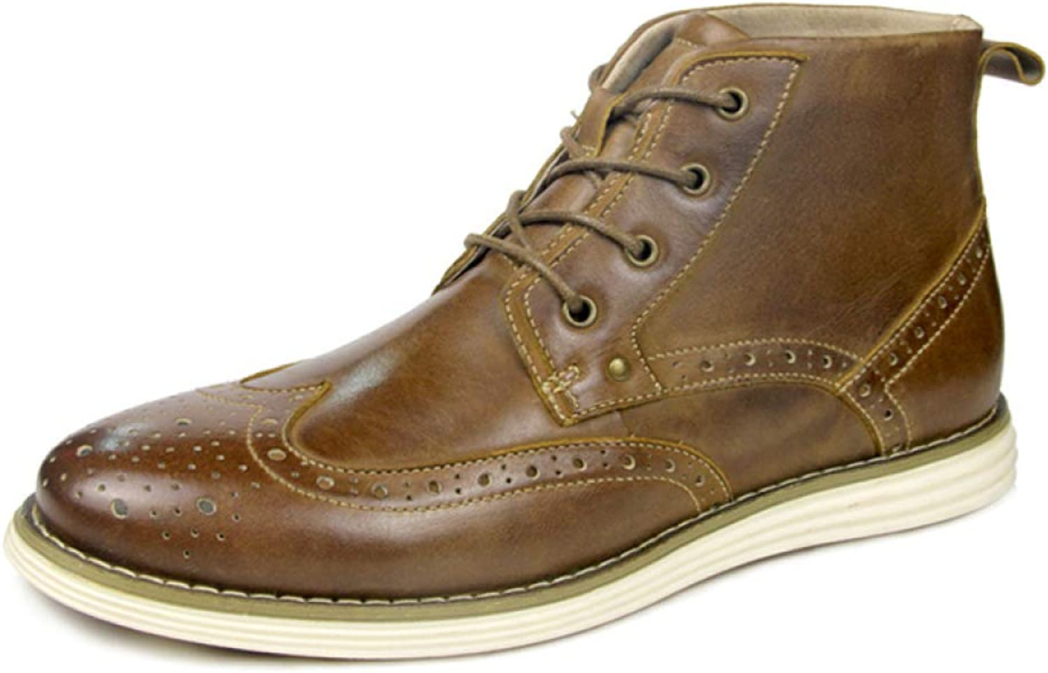 56da5522c73 MERRYHE Men's Lace Up Brogue Martin Boots Genuine Leather Work Party ...