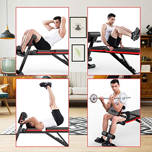 Lovinouse Upgraded 7 Adjustable Flat Weight Bench Press, Utility Foldable Decline Incline Sit Up Benches with Resistance Band, Dumbbell Curls, Full Body Workout Fitness for Home Gym