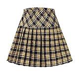 Women's Elastic Waist Plaid Pleated Skirt Tartan Skater School Uniform Mini Skirts (Series 19, XL)