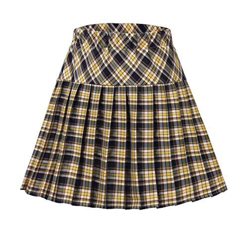 Urban CoCo Women's Elastic Waist Tartan Pleated School Skirt (Series 19, XL)