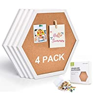 "Corksidol Cork Tiles 12""x12"" - 1/2"" Thick -Bulletin Board-Cork Board- Modern Framed Hexagon Cork Board Tiles for Floor/Wall/DIY-4 Pack-20 Push Pin Wood Clips(White)"