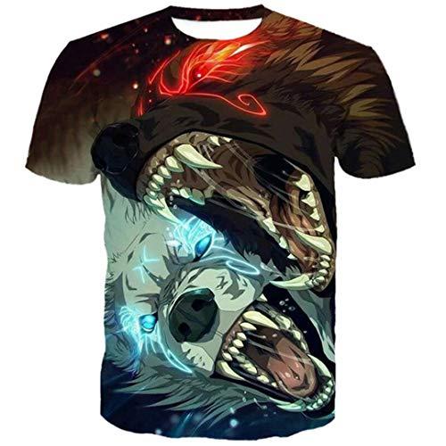 Fun Cartoon Double Wolf Bite 3D Tshirts Men's Fashion Tops T-Shirt EUR Size La1113 EUR Size XXXL