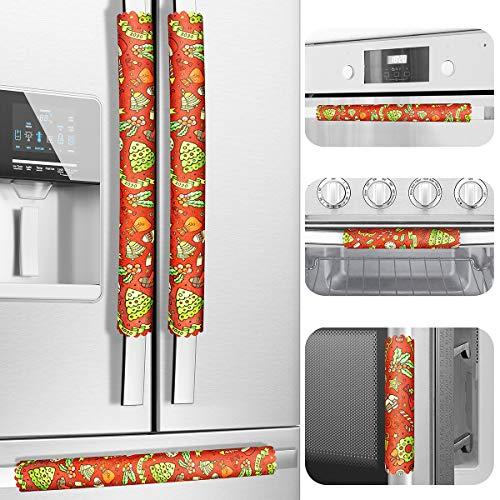 Juego de 6 fundas para manilla de puerta de refrigerador de Navidad, talla única, mantiene tu electrodoméstico de cocina limpio de manchas, goteos, manchas de alimentos y aceite. (Navidad_B)