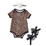 B Blesiya 3pcs Baby Strampler Stirnband Schuhe Kleidung Sets - Leopard, S für 3-6Monate