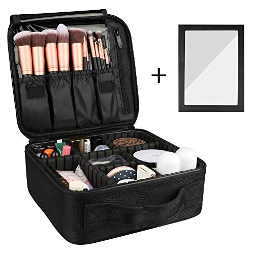 Rosmax Travel Makeup Bag, Portable Organizer Makeup Cosmetic Train Case with Mirror - Large Capacity and Adjustable Dividers for Cosmetics Makeup Brushes and Toiletry Jewelry for More Storage