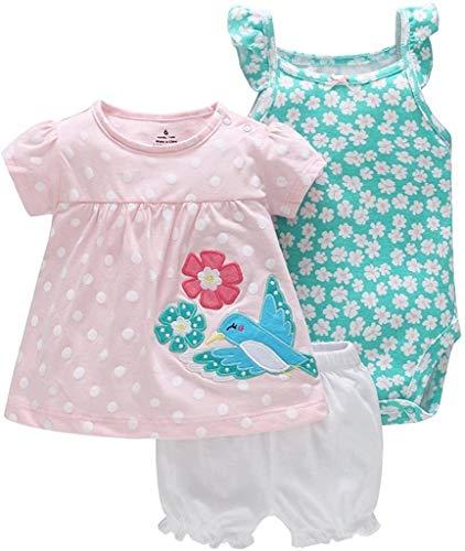 Nvfshreu - Conjunto de ropa de bebé de 3 piezas, vestido de manga corta, pantalón corto, estilo sencillo, para 3 – 24 meses, agradable y moderno, ropa para niños pájaro 12-18 Meses