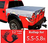 Truck Bed Tarp Cover for Short Box(5.8' Box)Fit for Ford F150 GMC Silverado/Sierra Ram Reflective Strip Waterproof Heavy Duty 600D Oxford Fabric Pickup Truck Bed Cover with Bungee Cords -Grey