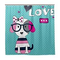 KAPANOU防水 シャワーカーテン かわいい犬メガネベクトルイラストTシャツ かわいいシャワーカーテン ユニットバス バスルーム 芸術の装飾 180cmx180cm バスフック付き 取り付け簡単