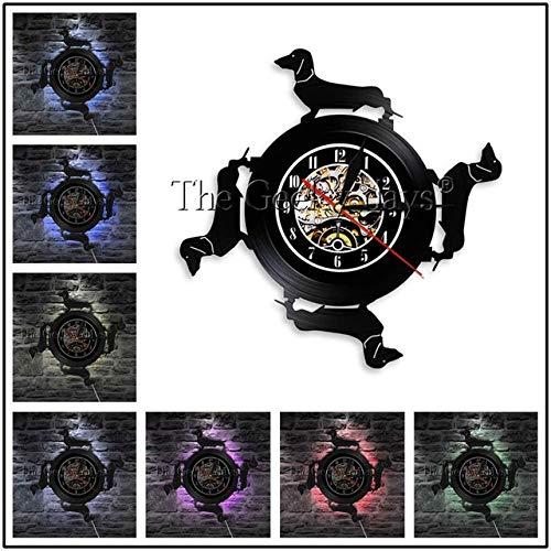 CWGWNXGY Wall Clock,DIY Reloj de Pared Decoración, 7 Cambios de Color,Dog Bacon Dog LED Light Reloj de Pared Cabello Largo Dog Sausage Dog LED 12 In No LED Black