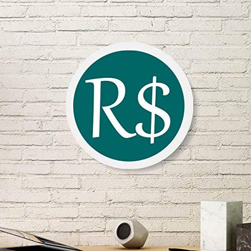 Offbb-USA Brasilien-Währung-Symbol, echtes BRL, rund, weißer Wand-Bilderrahmen aus Holz, Heimdekoration