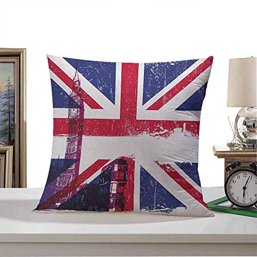 Throw Pillow Covers Union Jack,Grungy Aged UK Flag Big Ben Double Decker Country Culture Historical Landmark, Multicolor 22'x22',Breathable Silky Ultra Soft