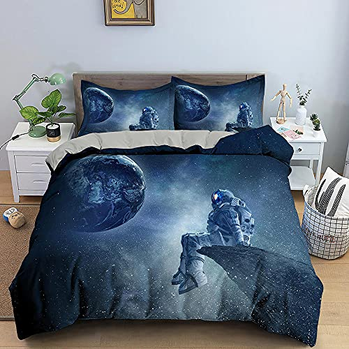 GVJKCZ Funda de edredón Astronauta Luna Azul Funda nórdica Estampada 140x200cm Microfibra-1Funda de Edredon con 2 Fundas de Almohada,3Piezas,Muy Suave,No alérgico