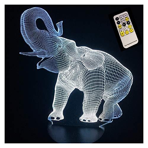3D-Illusion LED Tischleuchte Nachtlicht Elefant-Form Touch oder Fernnachttischlampe mit Tier 7 Farbwechsel-Effekt des neuen Jahres Geschenk (Color : Touch Control Lamp)