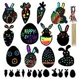 Johiux 24pcs Pasqua Fogli di Disegni Scratch Art,Easter Scratch Art Paper ,La pittura dei bambini a Pasqua,Regalo Creativo di Arte Raschiatrice per Adulti e Bambini. (24)