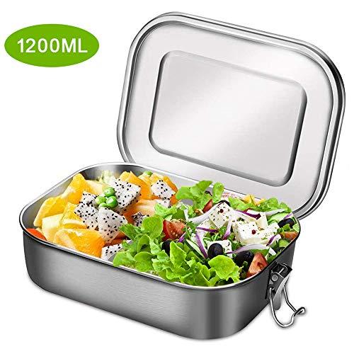 Aiskki Lunchbox, roestvrij staal, 1400 ml, lekvrij, met uitneembare scheidingswand, eco bento-boxen metaal, kinderlijk eenvoudig te reinigen, draagbaar, hittebestendig, grote capaciteit 1200ML zilver
