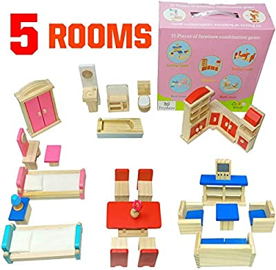 Toydaze Wooden Doll Furniture 5 Room Kit for 1:12 Scale Dollhouse or Pet Shop, Playhouse Miniature Wood Toy Furniture and Accessories, Includes Kitchen, Dining Room, Living Room, Bedroom, Bathroom