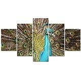 LWJPD Cuadro en Lienzo 5 Partes Pintura Imagen Modular Impresión En HD Decoración del Hogar Hermoso Pavo Real Animal Cartel De Arte De Pared Moderno Salón Lienzo Sin Marco 60 Inch