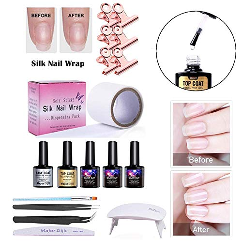 Enjoyment Nail Extension Gel Fiberglass Silk Wrap Nail Kit For Nail Art Quick Extension Gel Nail Art Kits,UV Lamp Tool Base, Top Coat, Tweezers, Brush, Nail File & Clip