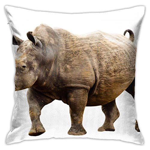 jieyang African Rhino Pillow Cover Decorative Throw Pillow Case Square Cushion Cover Home Sofa Bedroom Livingroom Pillowcase