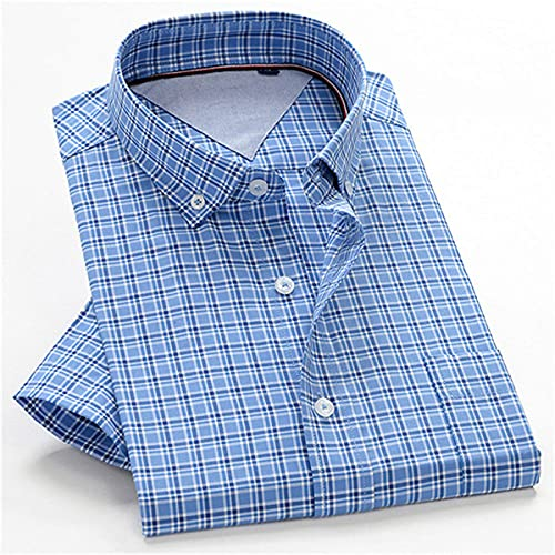 SHENSHI Herrenhemden Kurzarm,Klassische Hemdknöpfe, Großes Business Casual Kariertes Hemd Business Club Herrenbekleidung, Blau, 2X, Groß