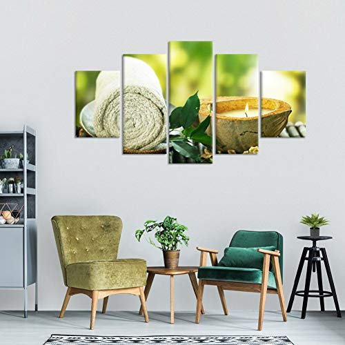XSHUHANP Prints Painting Modern Hd Printed Paintings Living Room Home Decor 5 Pieces Towel Leaf Candle Poster Modular Spa Pictures Canvas Wall Art Frame