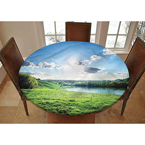 Forest Elastic Edged Polyester Fitted Tablecolth -Cloudy Weather with Lawn- XL Large Round Fitted Table Cover - Fits Tables up to 63' Diameter,The Ultimate Protection for Your Table