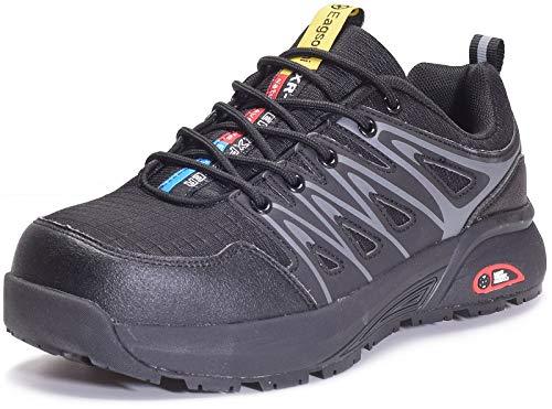Eagsouni Sicherheitsschuhe Herren Damen Arbeitsschuhe S3 Leicht Atmungsaktiv Schutzschuhe Stahlkappe Schuhe Industrie Sneaker, B Schwarz, 41 EU