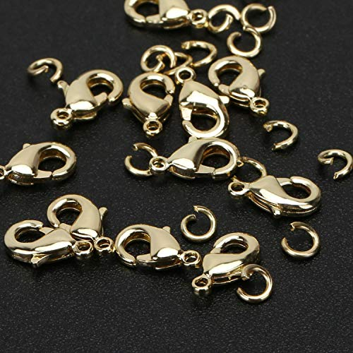 Wholesale Pack- Gold Plated 50 PCS 9mm Small Lobster Clasps and 100 PCS 4mm Open Jump Rings for Jewelry Making & Finding