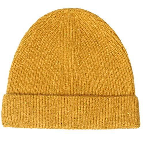 DABENXIONG Gorros De Invierno con Lentejuelas De Punto De Invierno Sombrero Beanie Cálido Capa De Doble Capa Kintted Sombrero Sólido Color Casual Soft Skull Cap (Color : Yellow)